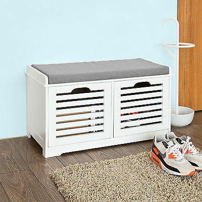 SoBuy® Shoe Cabinet Storage Bench with 2 Drawers &Removable Cushion,FSR23-K-W,UK