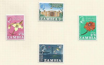 ZAMBIA 1965 1st anniversary of independence; set  lightly mounted mint