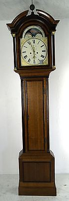 A Good 8 Day Oak Rolling Moon Grandfather Clock