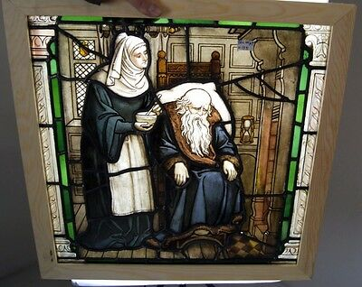 An Amazing Antique Early Painted Scene Window