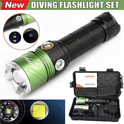Waterproof CREE XML L2 LED Scuba Diving Underwater 500M UV Flashlight Torch Set