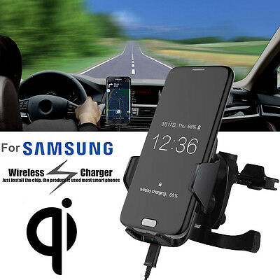 Qi Wireless Car Fast Charger Stand Dashboard Air Vent Mount For Samsung S6 S7 E