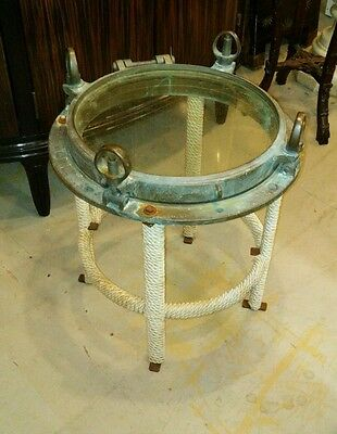 Antique Nautical Brass Port Hole Mounted as Table
