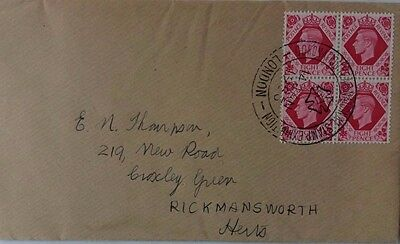 1953 London Stamp Expo Cancel On Block Of 4 X 8 Pence On Cover