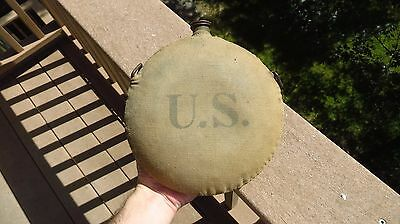 Spanish American War U.s. Round Canteen With Original Canvas Cover