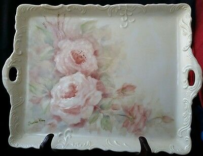 Vintage Bavaria Hand Painted Porcelain Vanity Tray Pink Roses Signed