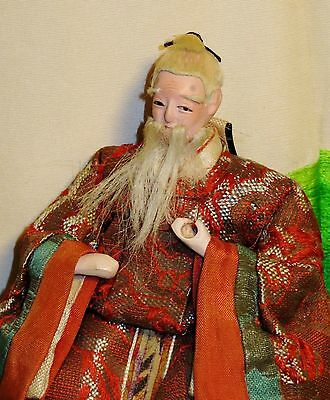 "Antique Pre-1920 Japanese Seated 5.5"" Old Male Attendant Hina Doll #AAD4161415.9"