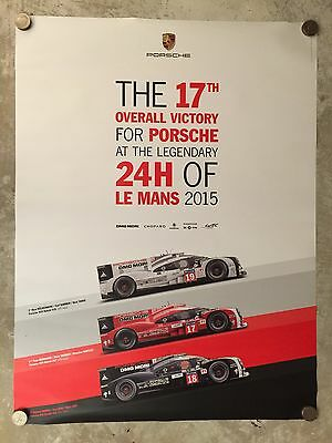 2015 Porsche 919 Hybrid Le Mans 17th Victory Showroom Advertising Poster RARE!!