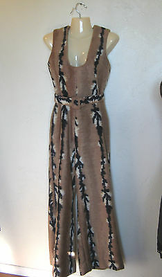 VINTAGE 1960s 70's mod disco retro FAUX FUR JUMPSUIT S FOXY BROWN