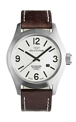 Glycine Incursore Automatic Steel Mens Brown Strap Watch Date 3874.11 LB7BF