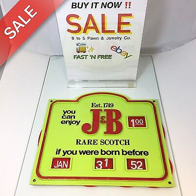 Vintage J&b Rare Scotch Bar Sign If You Were Born Before See Prices/date!!!