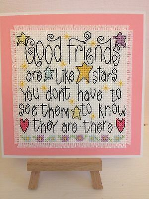 Completed Cross Stitch Card           ( Good Friends Are Like Stars )