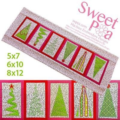 Christmas tree table runner 5x7 6x10 8x12 in the hoop machine embroidery design