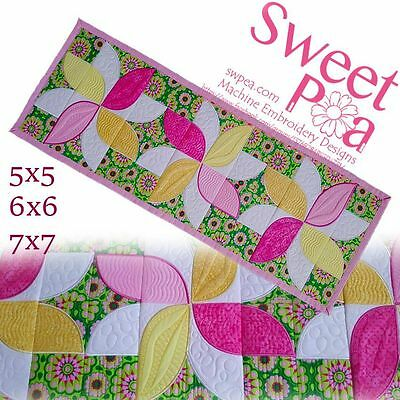 Frangipani quilt blocks and table runner 5x5 6x6 7x7 in the hoop machine embr...
