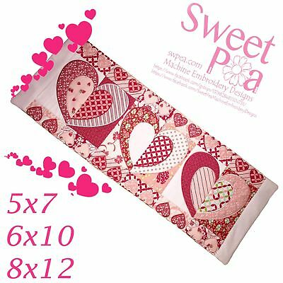 Double the love quilt blocks and table runner 5x7 6x10 8x12 in the hoop machi...