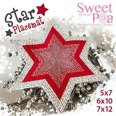 Star placemat 5x7 6x10 7x12 in the hoop machine embroidery design