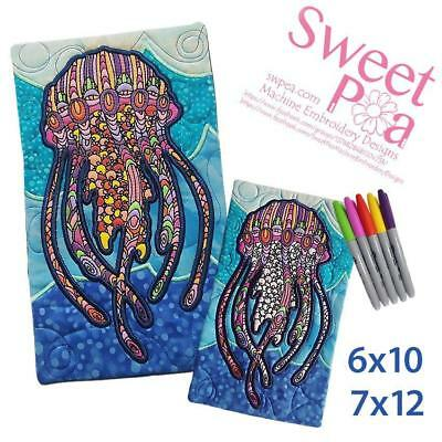 Jellyfish colouring in mugrug 6x10 and 7x12 in the hoop machine embroidery de...