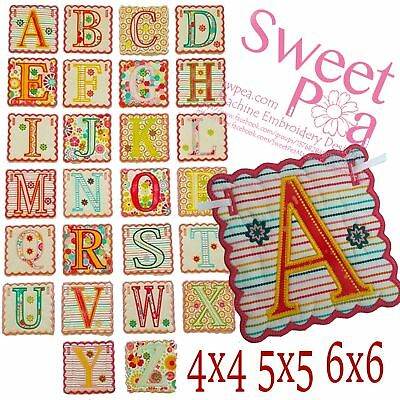 Alphabet bunting 4x4 5x5 6x6 in the hoop machine embroidery design