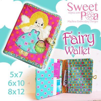 Fairy wallet 5x7 6x10 8x12 in the hoop machine embroidery design