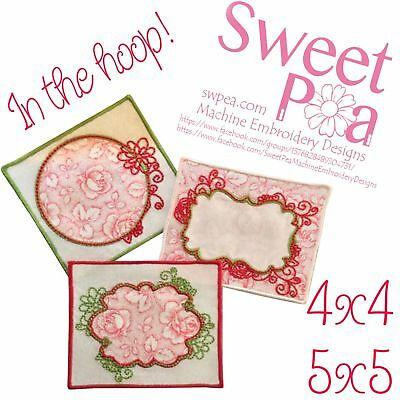 Flowery quilt labels 4x4 and 5x5 in the hoop machine embroidery designs