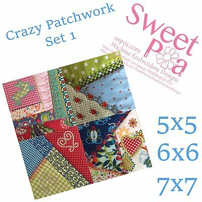 Crazy patchwork quilt blocks set 1 5x5 6x6 7x7 in the hoop machine embroidery...