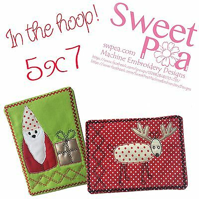 Christmas gnome and reindeer mugrug set 5x7 in the hoop machine embroidery de...