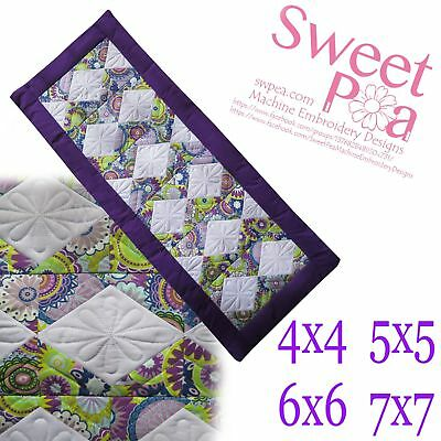 Lattice quilt block and table runner 4x4 5x5 6x6 7x7 in the hoop machine embr...