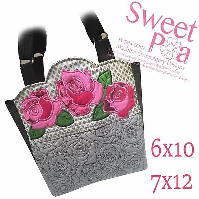 Quilted Roses Bag 6x10 7x12 In The Hoop Machine Embroidery Design