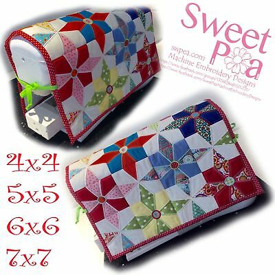 Jackie's star sewing machine cover and quilt block 4x4 5x5 6x6 and 7x7 in the...