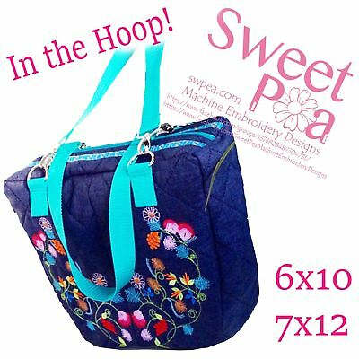Twin flower bag 6x10 7x12 in the hoop machine embroidery designs