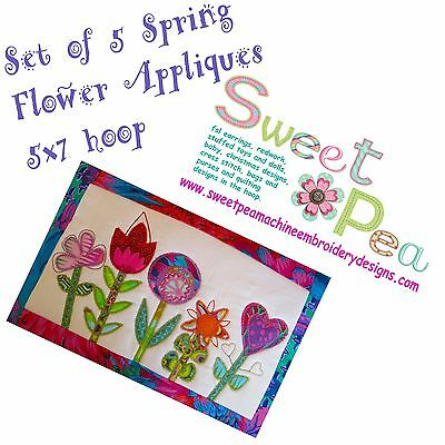 Spring flower appliques set of 5.  In the 5x7 hoop machine embroidery designs.