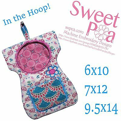 Little dress peg bag in the hoop 6x10, 7x12 and 9.5x14 machine embroidery design