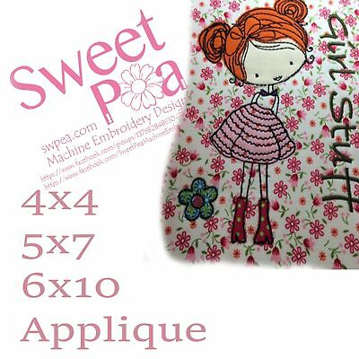 Girl stuff applique 4x4 5x7 6x10 in the hoop machine embroidery design