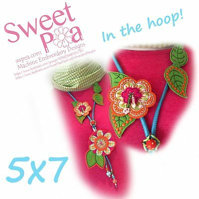 Felt flowers necklace 5x7 in the hoop machine embroidery design