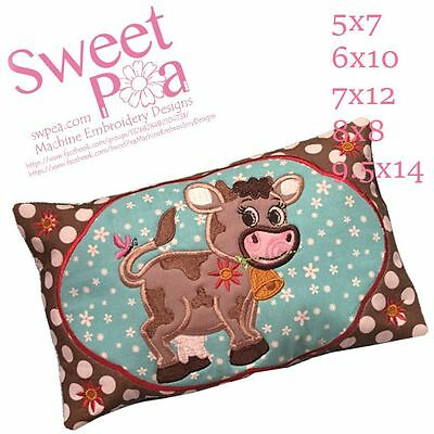 Baby pillow cow 5x7 6x10 7x12 8x8 9.5x14 In The Hoop Machine Embroidery Design