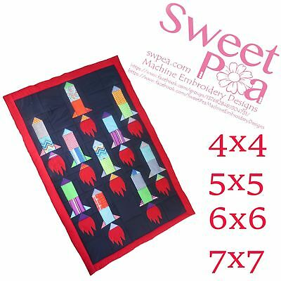 Rocket quilt and blocks 4x4 5x5 6x6 7x7 in the hoop machine embroidery design