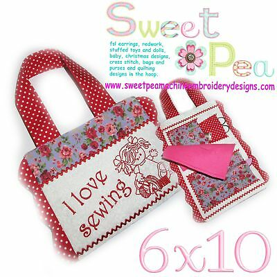 Machine Embroidery Pattern Sewing Kit 1 with redwork girl ITH in the 6x10 hoop