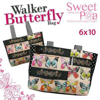 Walker butterfly bag 6x10 in the hoop machine embroidery design