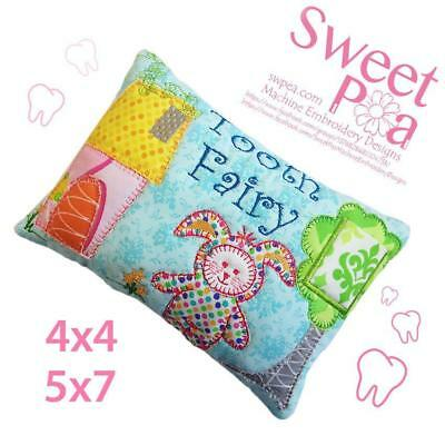 Bunny onesy tooth fairy pillow 5x7 and 4x4 appliques in the hoop machine embr...