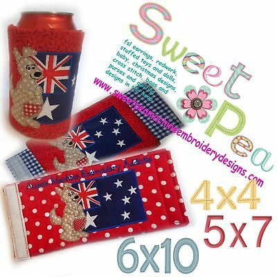 Bottle wrap or stubbie cooler kangaroo with flag in the hoop 4x4 5x7 and 6x10...