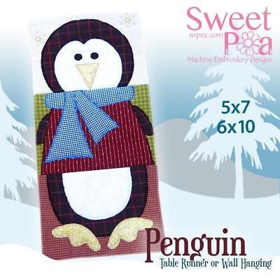 Wall Hanging or Table Runner with Penguin Applique 5x7 and 6x10 Design