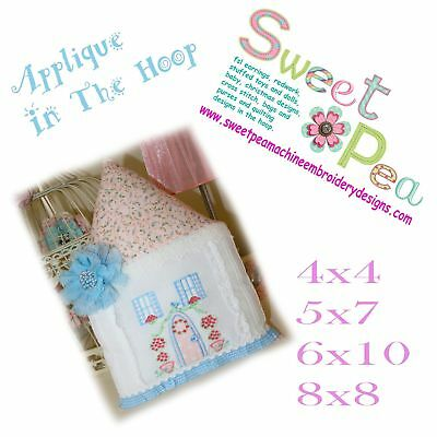 Pretty House Applique 4x4 5x7 6x10 8x8 In The Hoop Machine Embroidery Design