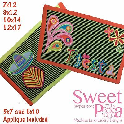 Mexican Placemats 5x7 6x10 Applique 7x12 9x12 10x14 12x17 In The Hoop Machine...