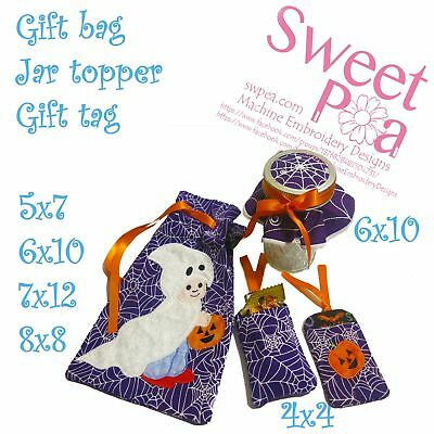 Halloween gift bag, jar topper and gift tag set in the hoop machine embroider...