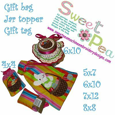 Easter bunny in a basket gift bag, jar topper and gift tag set in the hoop ma...