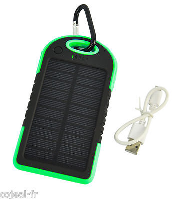 SOLAR CHARGER USB 5000 mAh waterproof ideal for camping phone NEW