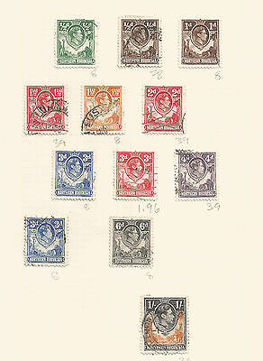 Northern Rhodesia GEORGE VI 1938-52 12 values various shades and colours; used
