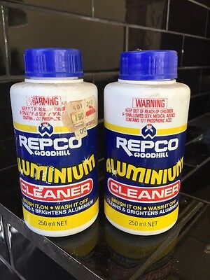 Set Of 2 Repco Aluminium Cleaner Vintage Bottles With Contents Made In Australia