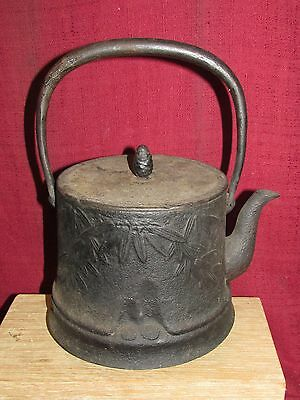 Antique Japanese Cast Iron Teapot Signed Tetsubin