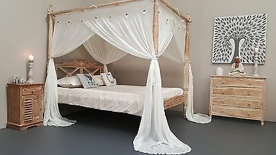 Natural Mosquito Net Four Poster Bed Canopy Curtain King Size 185cm x 205cm